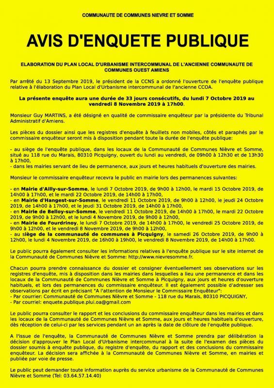 Enquête publique - PLUi Ouest Amiens