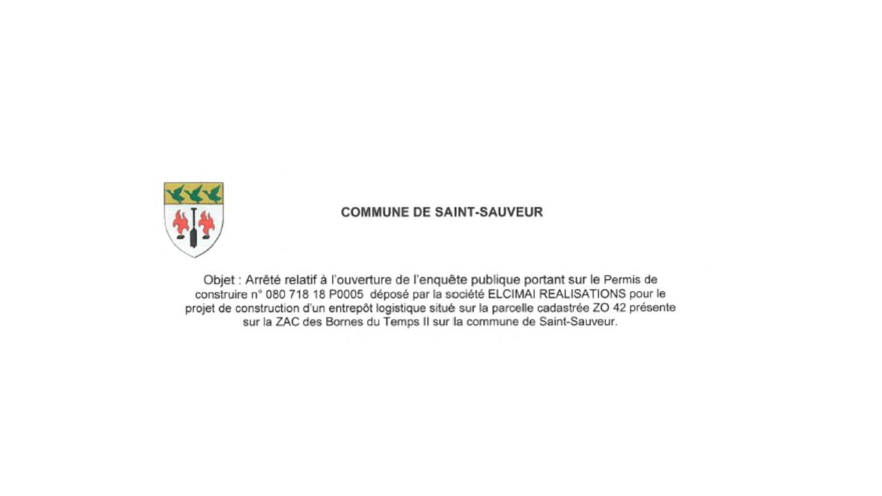 ENQUÊTE PUBLIQUE PERMIS DE CONSTRUIRE N° 080 718 18 P0005 SOCIÉTÉ ELCIMAÎ REALISATIONS