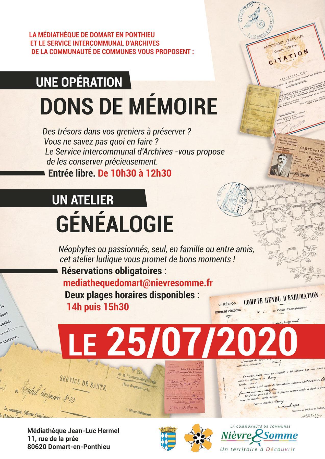Dons de mémoire et généalogie à Domart !