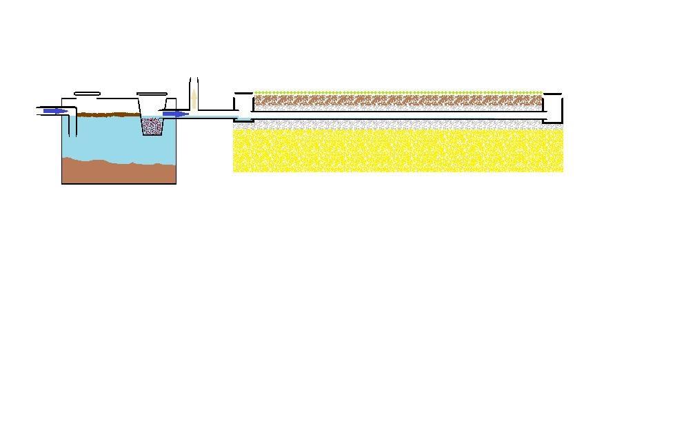 Coupe d'un filtre à sable vertical drainé